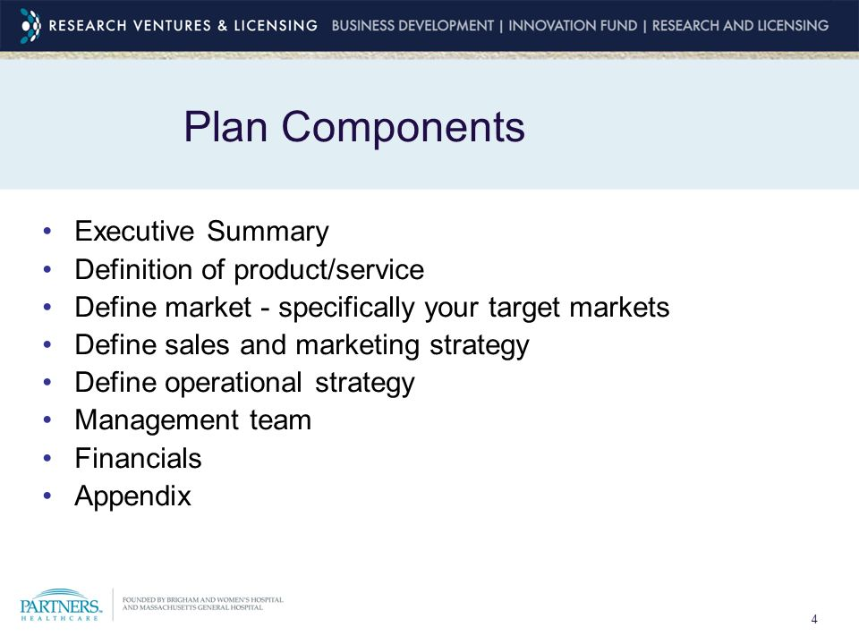 4 Plan Components Executive Summary Definition of product/service Define market - specifically your target markets Define sales and marketing strategy Define operational strategy Management team Financials Appendix