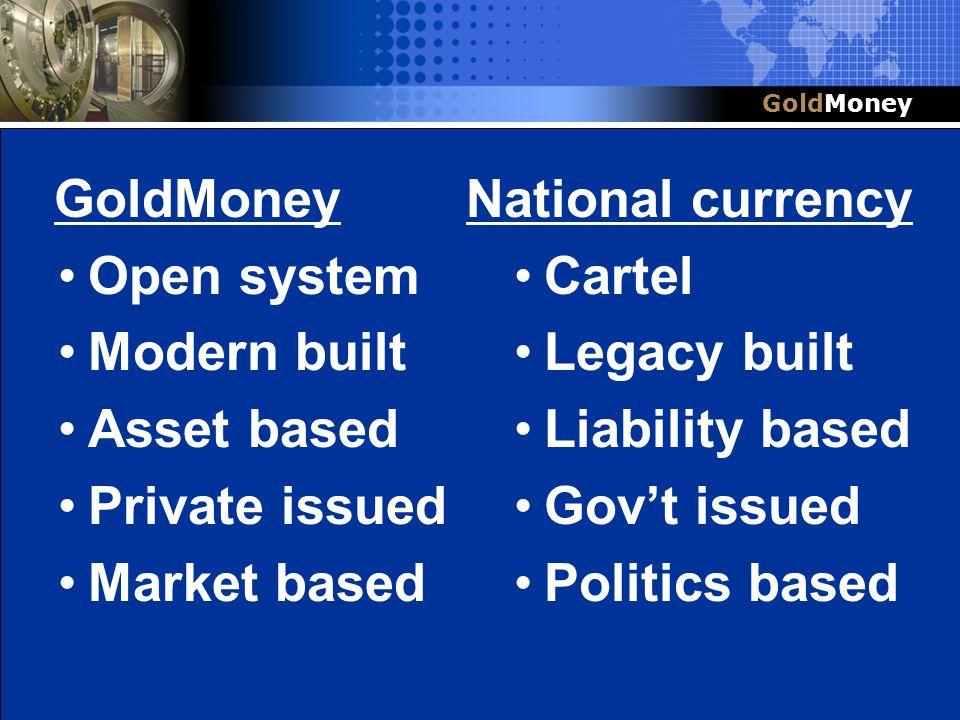 Title Slide Box Document slug: date/pp # Title & Headline GoldMoney Open system Modern built Asset based Private issued Market based National currency