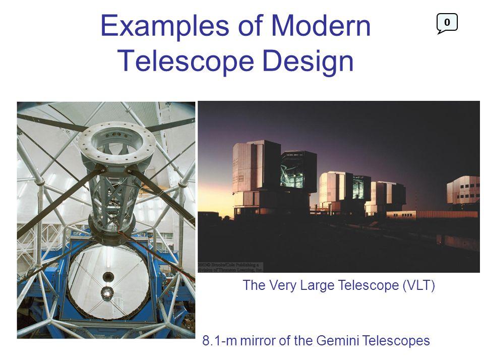 Examples of Modern Telescope Design 8.1-m mirror of the Gemini Telescopes The Very Large Telescope (VLT) 0