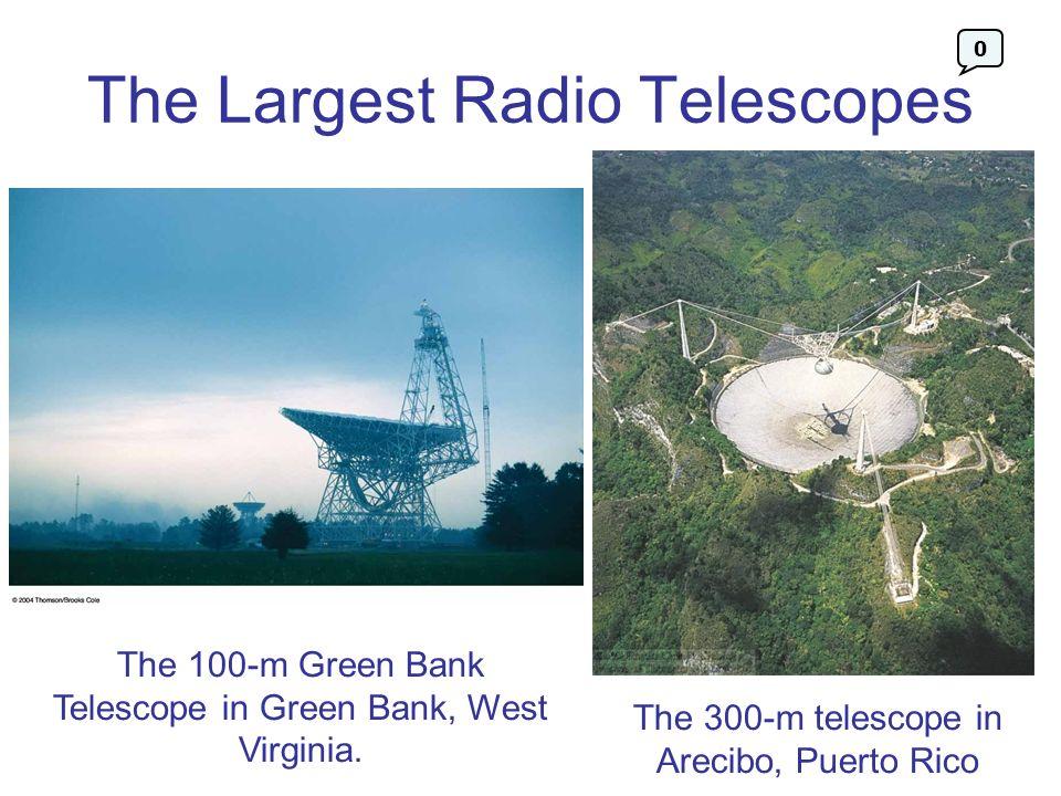 The Largest Radio Telescopes The 100-m Green Bank Telescope in Green Bank, West Virginia. The 300-m telescope in Arecibo, Puerto Rico 0