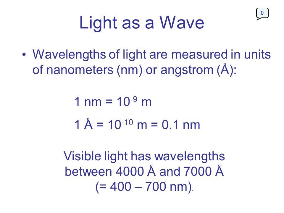 Light as a Wave Wavelengths of light are measured in units of nanometers (nm) or angstrom (Å): 1 nm = 10 -9 m 1 Å = 10 -10 m = 0.1 nm Visible light ha
