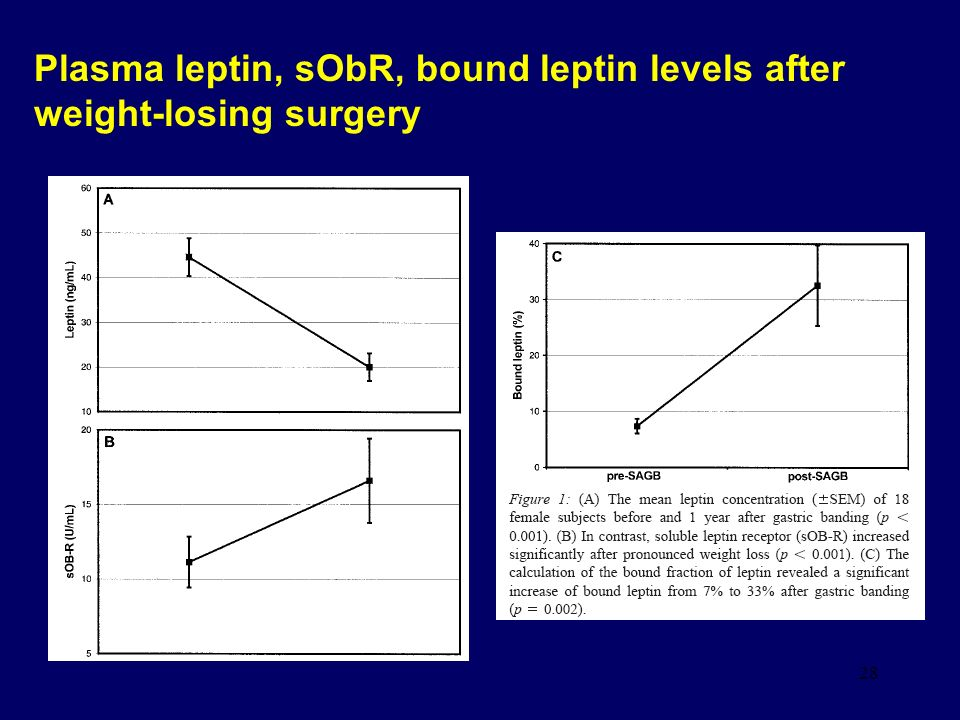 28 Plasma leptin, sObR, bound leptin levels after weight-losing surgery