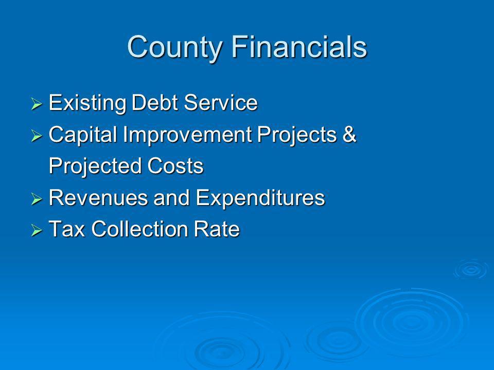 County Financials Existing Debt Service Existing Debt Service Capital Improvement Projects & Capital Improvement Projects & Projected Costs Revenues a