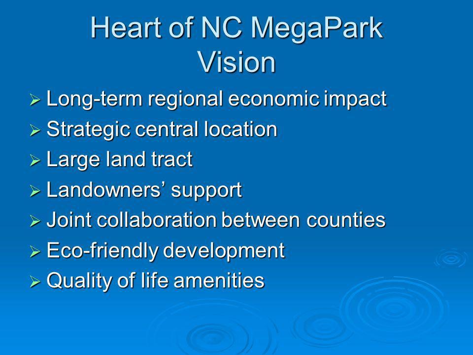 Heart of NC MegaPark Vision Long-term regional economic impact Long-term regional economic impact Strategic central location Strategic central locatio