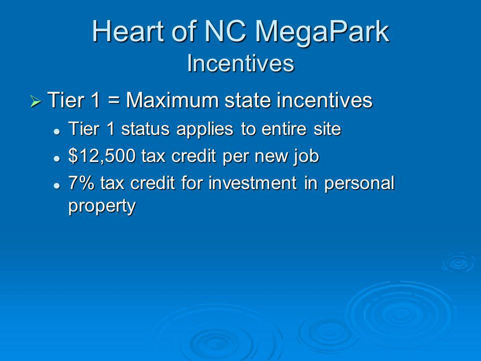 Heart of NC MegaPark Incentives Tier 1 = Maximum state incentives Tier 1 = Maximum state incentives Tier 1 status applies to entire site Tier 1 status