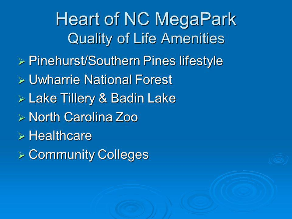 Heart of NC MegaPark Quality of Life Amenities Pinehurst/Southern Pines lifestyle Pinehurst/Southern Pines lifestyle Uwharrie National Forest Uwharrie