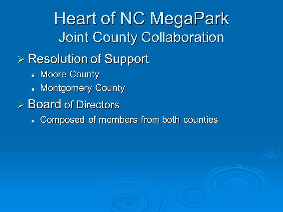 Heart of NC MegaPark Joint County Collaboration Resolution of Support Resolution of Support Moore County Moore County Montgomery County Montgomery Cou
