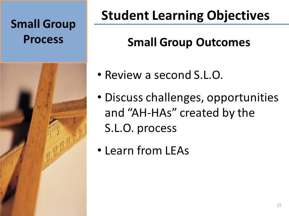 Small Group Outcomes Review a second S.L.O. Discuss challenges, opportunities and AH-HAs created by the S.L.O. process Learn from LEAs Small Group Pro