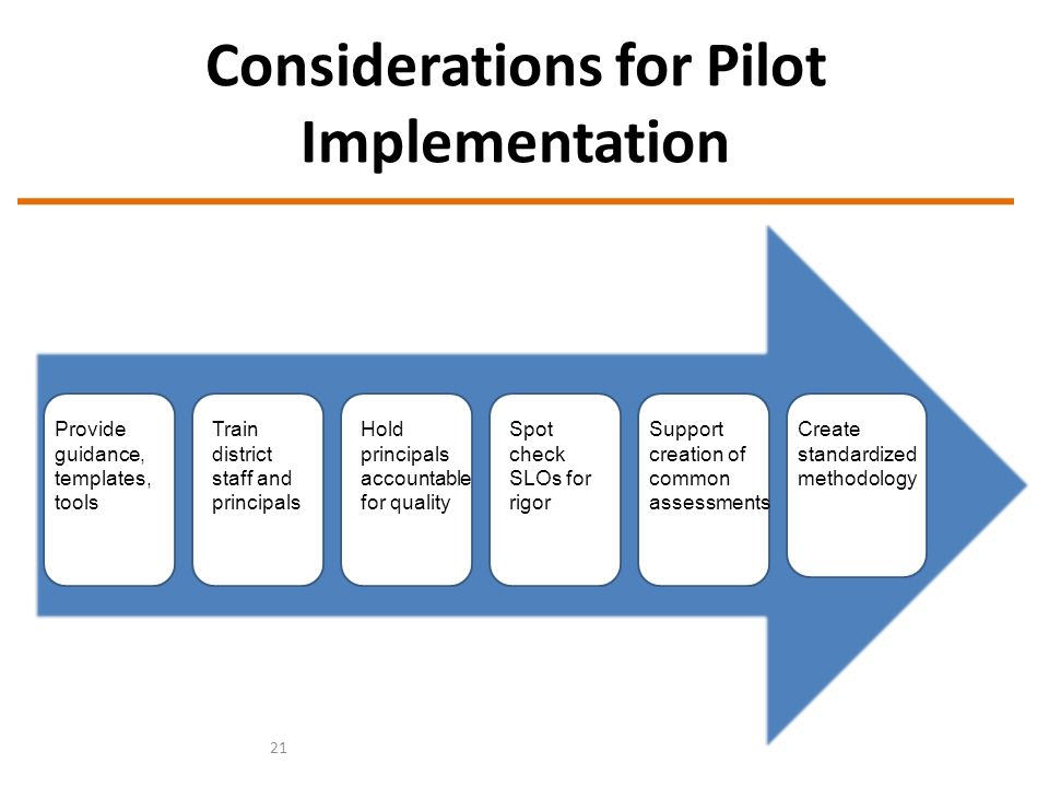 Considerations for Pilot Implementation 21 Provide guidance, templates, tools Train district staff and principals Hold principals accountable for quality Spot check SLOs for rigor Support creation of common assessments Create standardized methodology