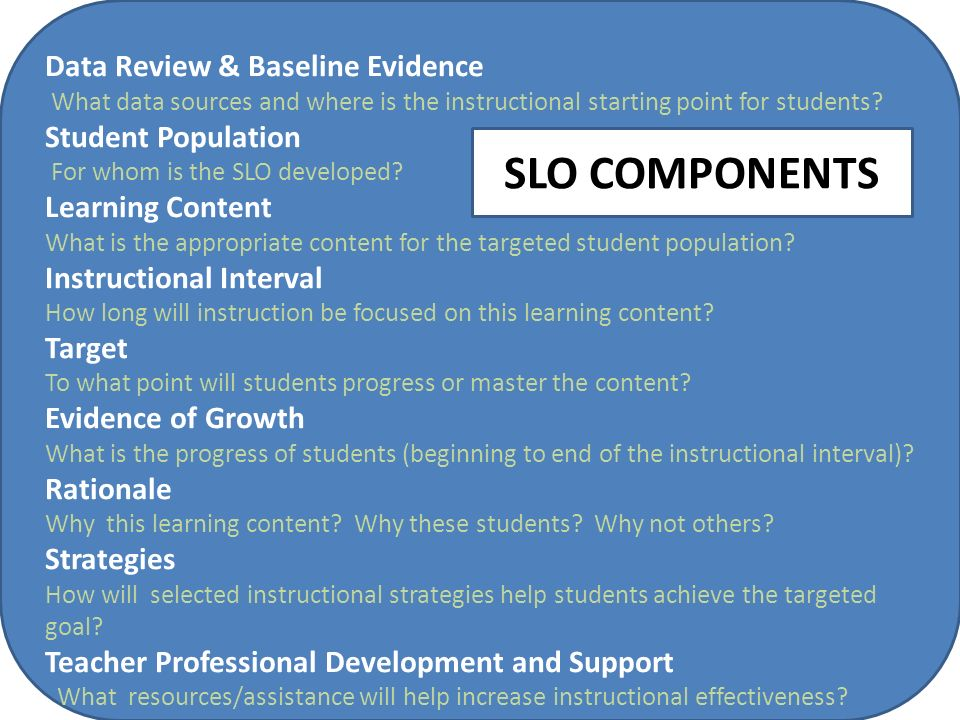 7 Data Review & Baseline Evidence What data sources and where is the instructional starting point for students? Student Population For whom is the SLO