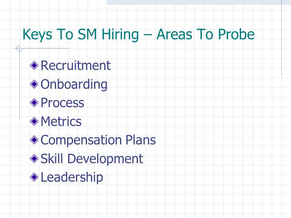 Keys To SM Hiring – Areas To Probe Recruitment Onboarding Process Metrics Compensation Plans Skill Development Leadership