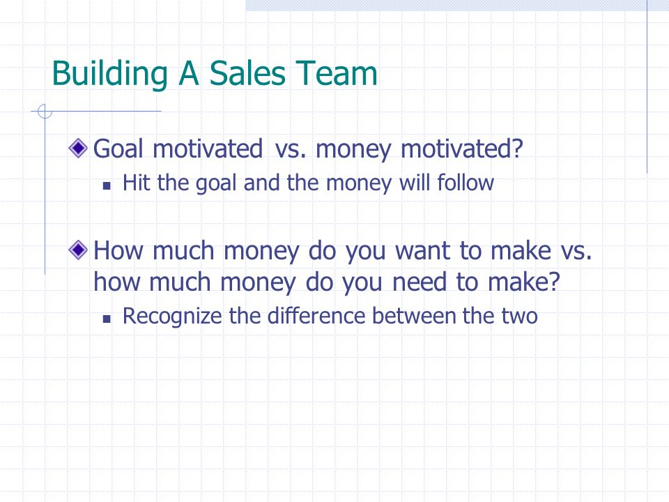 Building A Sales Team Goal motivated vs. money motivated? Hit the goal and the money will follow How much money do you want to make vs. how much money