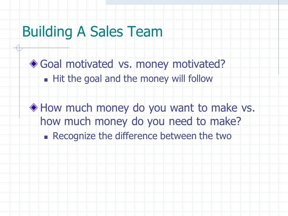 Building A Sales Team Goal motivated vs. money motivated.