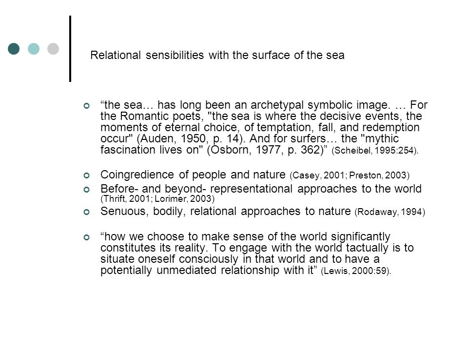 Relational sensibilities with the surface of the sea the sea… has long been an archetypal symbolic image.