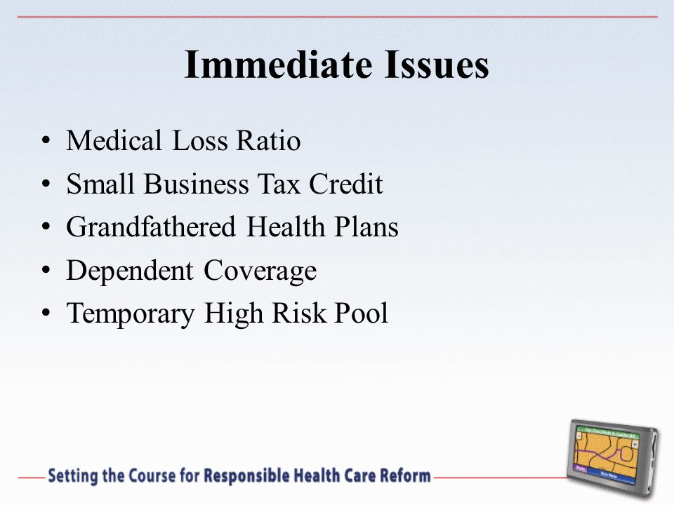 Immediate Issues Medical Loss Ratio Small Business Tax Credit Grandfathered Health Plans Dependent Coverage Temporary High Risk Pool