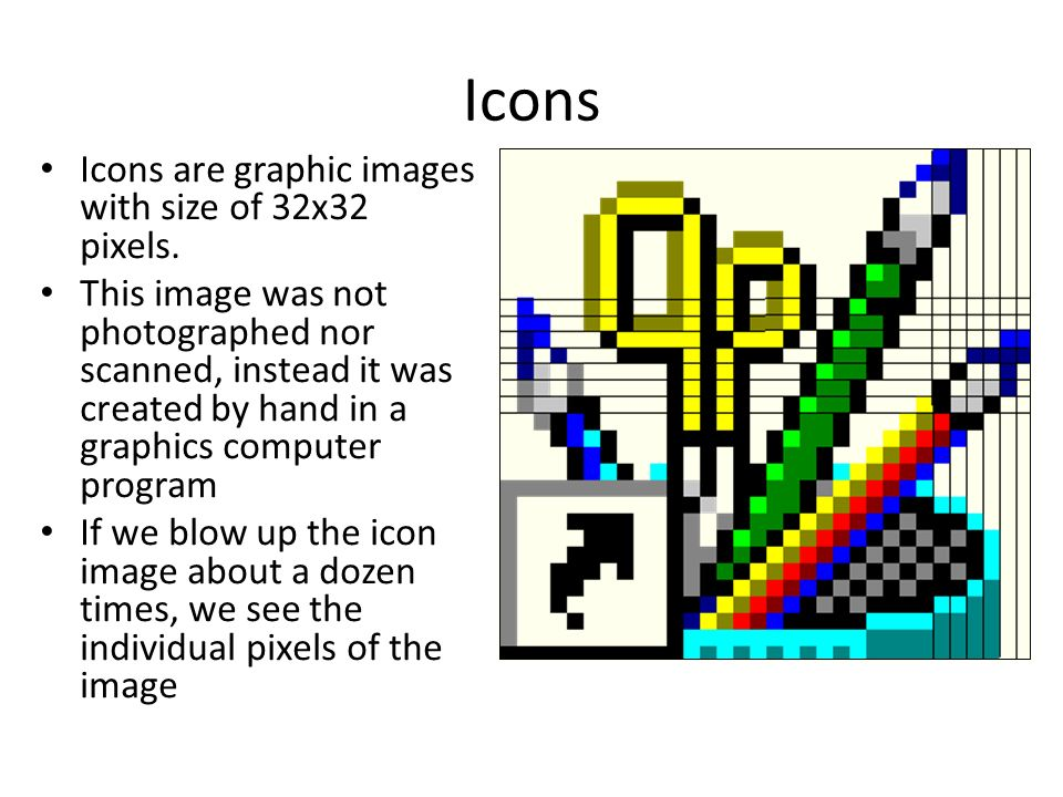 Icons Icons are graphic images with size of 32x32 pixels.