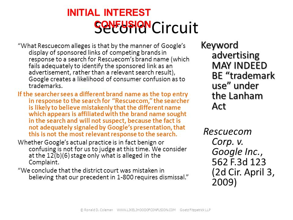 Second Circuit 2010 Google, supported by amici, argues that 1-800 suggests that the inclusion of a trademark in an internal computer directory cannot constitute trademark use.