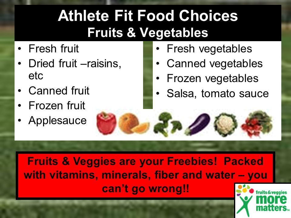 Athlete Fit Food Choices Fruits & Vegetables Fresh fruit Dried fruit –raisins, etc Canned fruit Frozen fruit Applesauce Fresh vegetables Canned vegeta