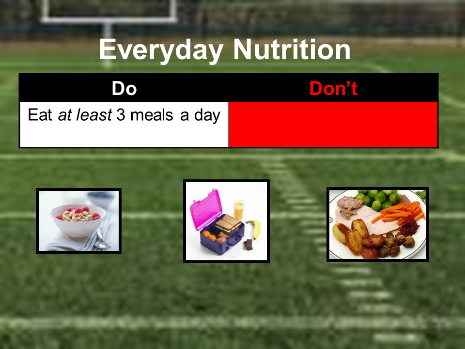 Everyday Nutrition DoDont Eat at least 3 meals a day