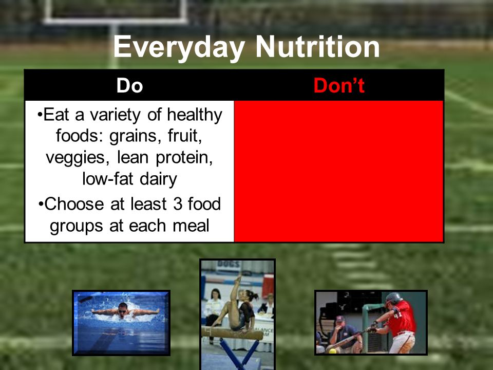 Everyday Nutrition DoDont Eat a variety of healthy foods: grains, fruit, veggies, lean protein, low-fat dairy Choose at least 3 food groups at each me