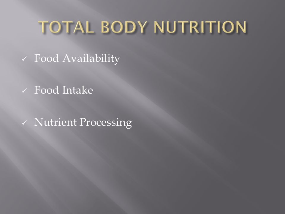 Food Availability Food Intake Nutrient Processing