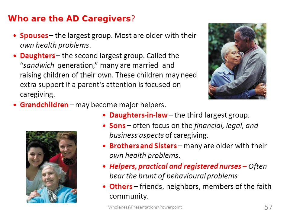 Who are the AD Caregivers? Spouses – the largest group. Most are older with their own health problems. Daughters – the second largest group. Called th