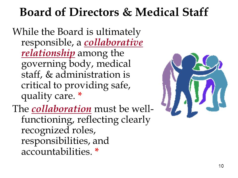 10 Board of Directors & Medical Staff While the Board is ultimately responsible, a collaborative relationship among the governing body, medical staff, & administration is critical to providing safe, quality care.