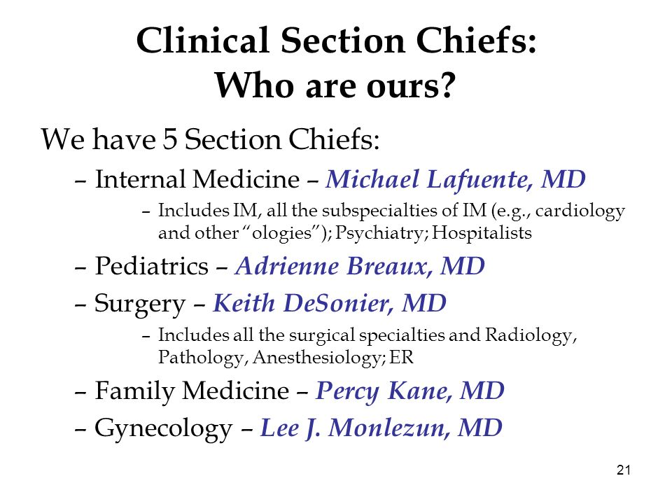 21 Clinical Section Chiefs: Who are ours? We have 5 Section Chiefs: –Internal Medicine – Michael Lafuente, MD –Includes IM, all the subspecialties of