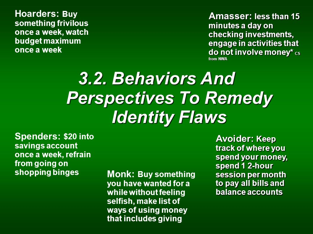3.2. Behaviors And Perspectives To Remedy Identity Flaws Hoarders: Buy something frivilous once a week, watch budget maximum once a week Spenders: $20