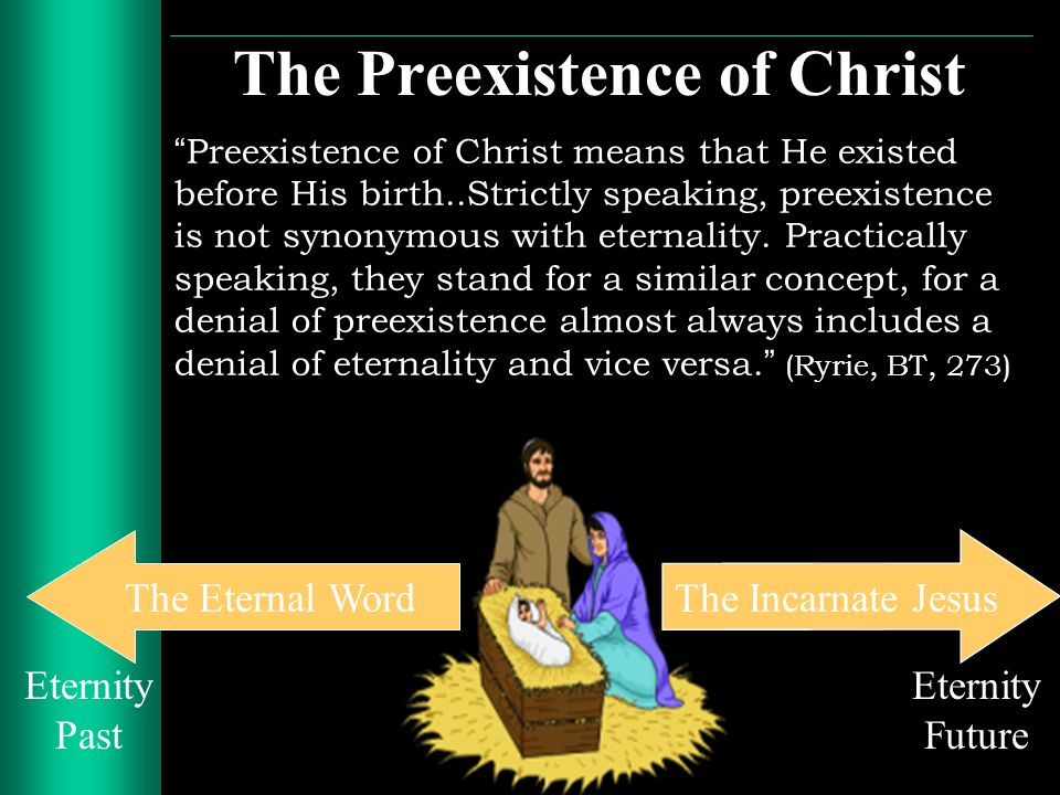 The Preexistence of Christ Preexistence of Christ means that He existed before His birth..Strictly speaking, preexistence is not synonymous with etern