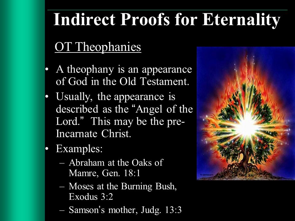 Indirect Proofs for Eternality A theophany is an appearance of God in the Old Testament. Usually, the appearance is described as the Angel of the Lord