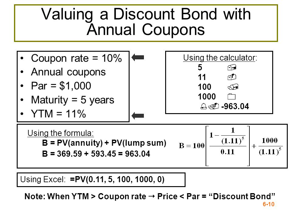 6-10 Valuing a Discount Bond with Annual Coupons Coupon rate = 10% Annual coupons Par = $1,000 Maturity = 5 years YTM = 11% Using the formula: B = PV(