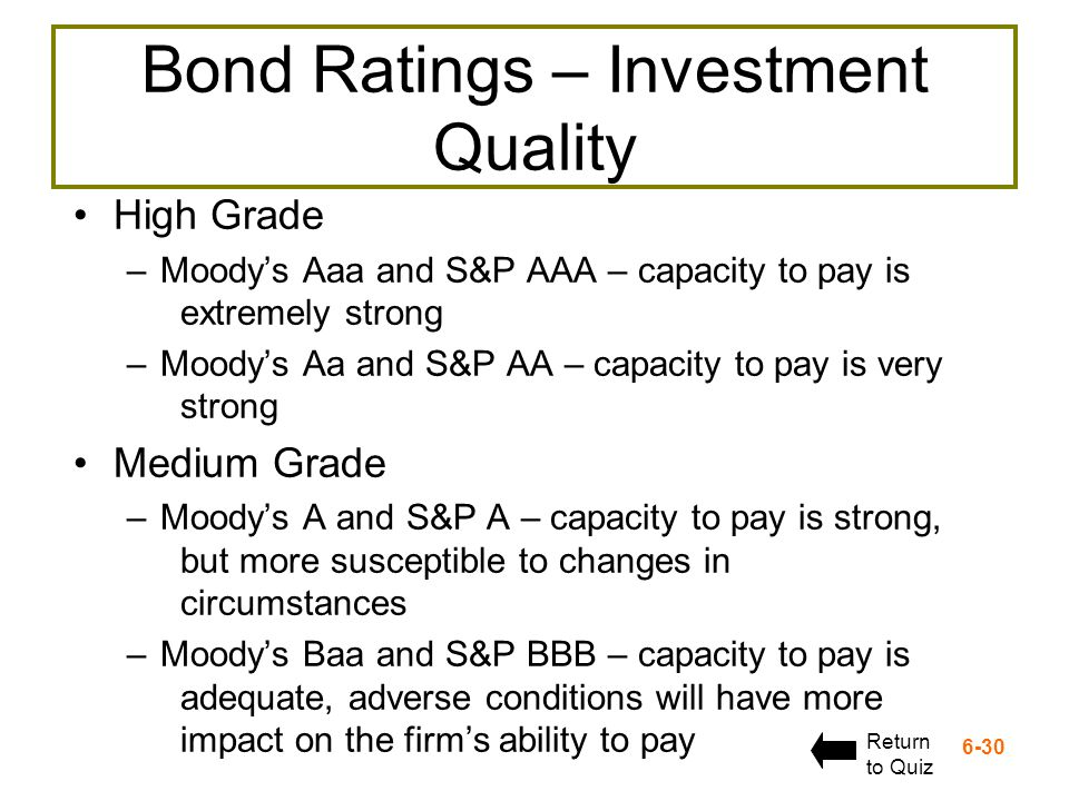 6-30 Bond Ratings – Investment Quality High Grade –Moodys Aaa and S&P AAA – capacity to pay is extremely strong –Moodys Aa and S&P AA – capacity to pa