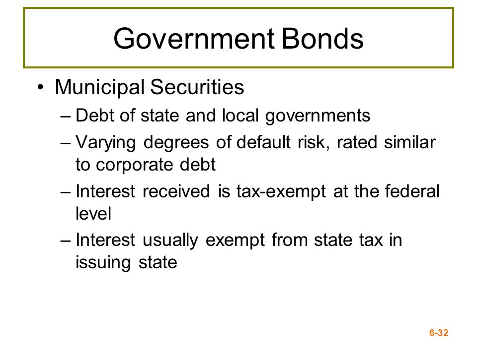 6-32 Government Bonds Municipal Securities –Debt of state and local governments –Varying degrees of default risk, rated similar to corporate debt –Int