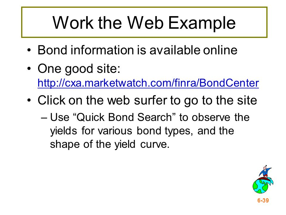 6-39 Work the Web Example Bond information is available online One good site: http://cxa.marketwatch.com/finra/BondCenter http://cxa.marketwatch.com/f