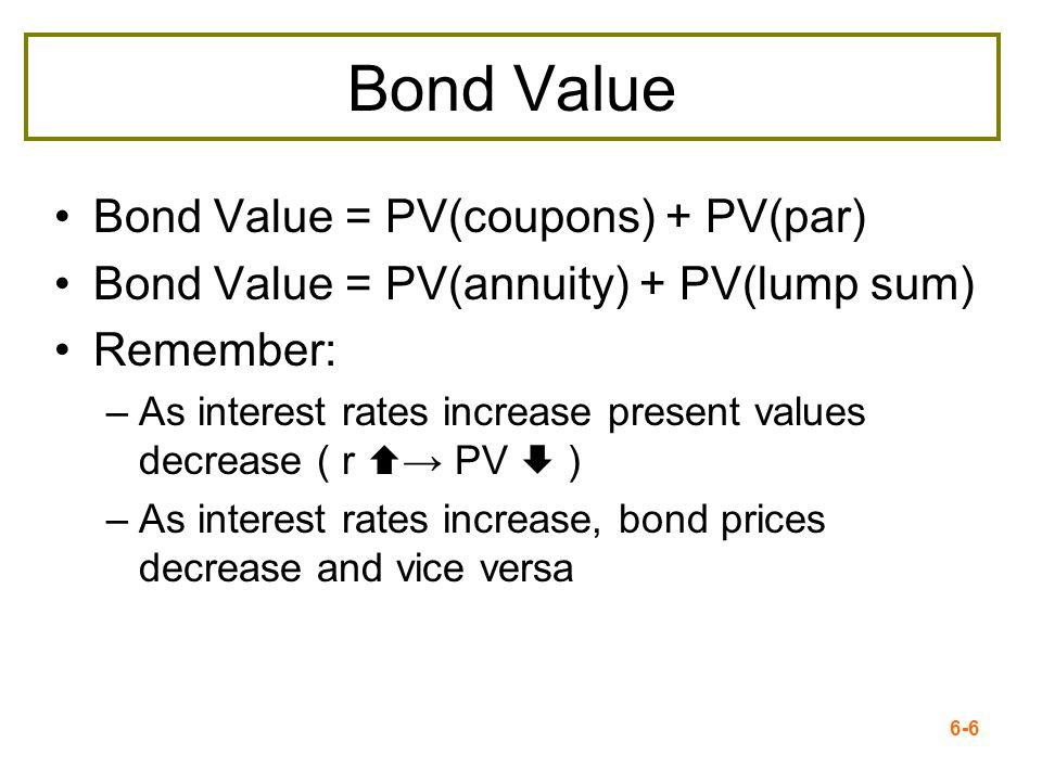 6-6 Bond Value Bond Value = PV(coupons) + PV(par) Bond Value = PV(annuity) + PV(lump sum) Remember: –As interest rates increase present values decreas