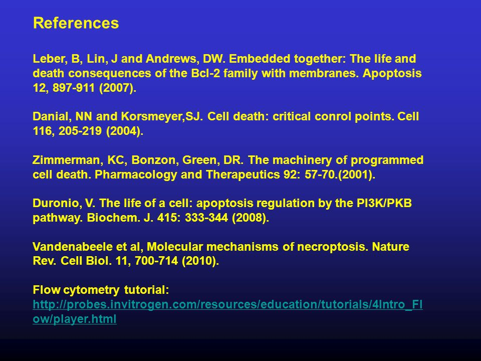 References Leber, B, Lin, J and Andrews, DW. Embedded together: The life and death consequences of the Bcl-2 family with membranes. Apoptosis 12, 897-