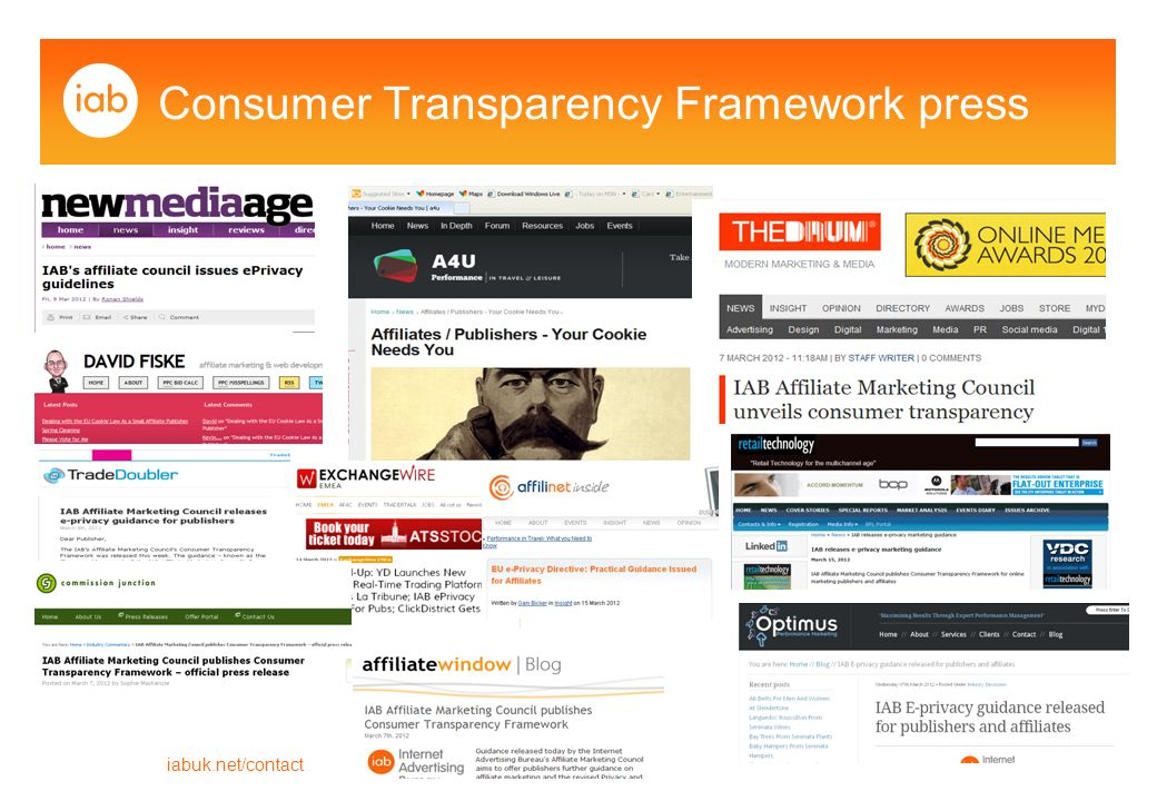 Consumer Transparency Framework press iabuk.net/contact