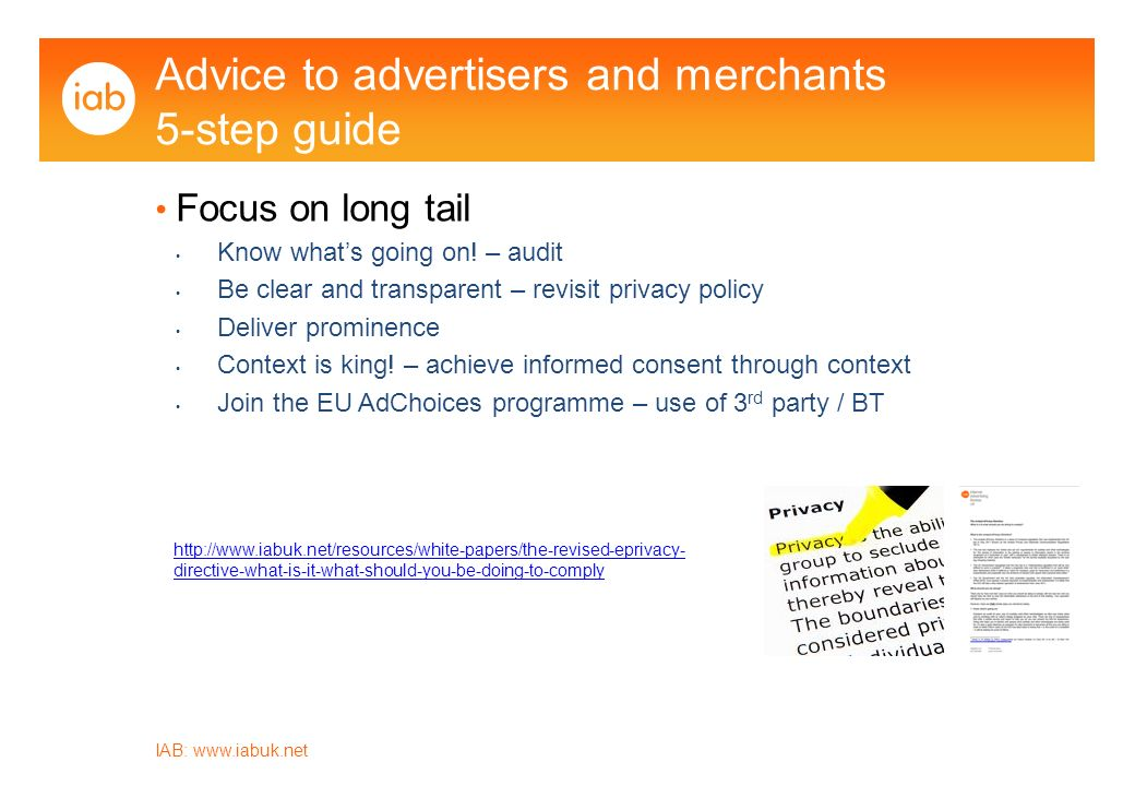 IAB:   Advice to advertisers and merchants 5-step guide Focus on long tail Know whats going on.