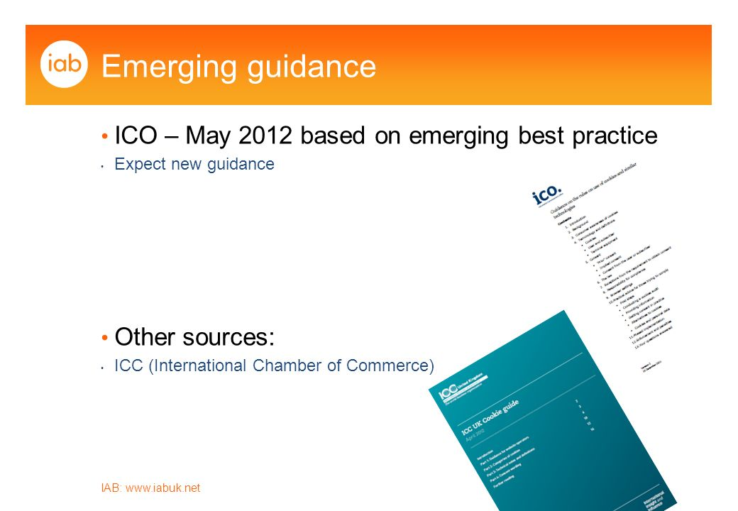 IAB:   Emerging guidance ICO – May 2012 based on emerging best practice Expect new guidance Other sources: ICC (International Chamber of Commerce)