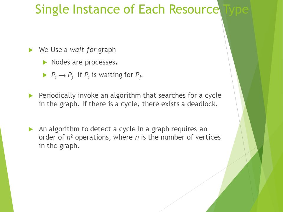Single Instance of Each Resource Type We Use a wait-for graph Nodes are processes. P i P j if P i is waiting for P j. Periodically invoke an algorithm