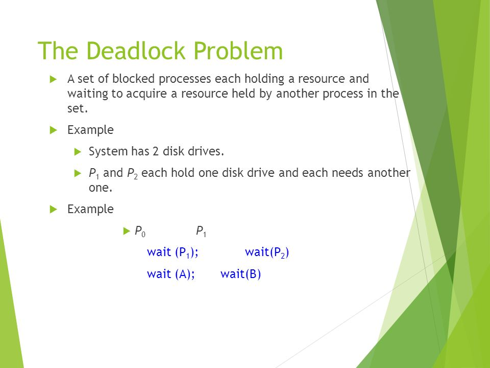 The Deadlock Problem A set of blocked processes each holding a resource and waiting to acquire a resource held by another process in the set. Example