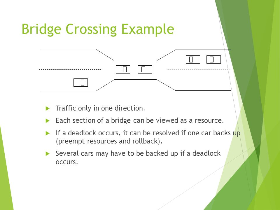 Bridge Crossing Example Traffic only in one direction. Each section of a bridge can be viewed as a resource. If a deadlock occurs, it can be resolved