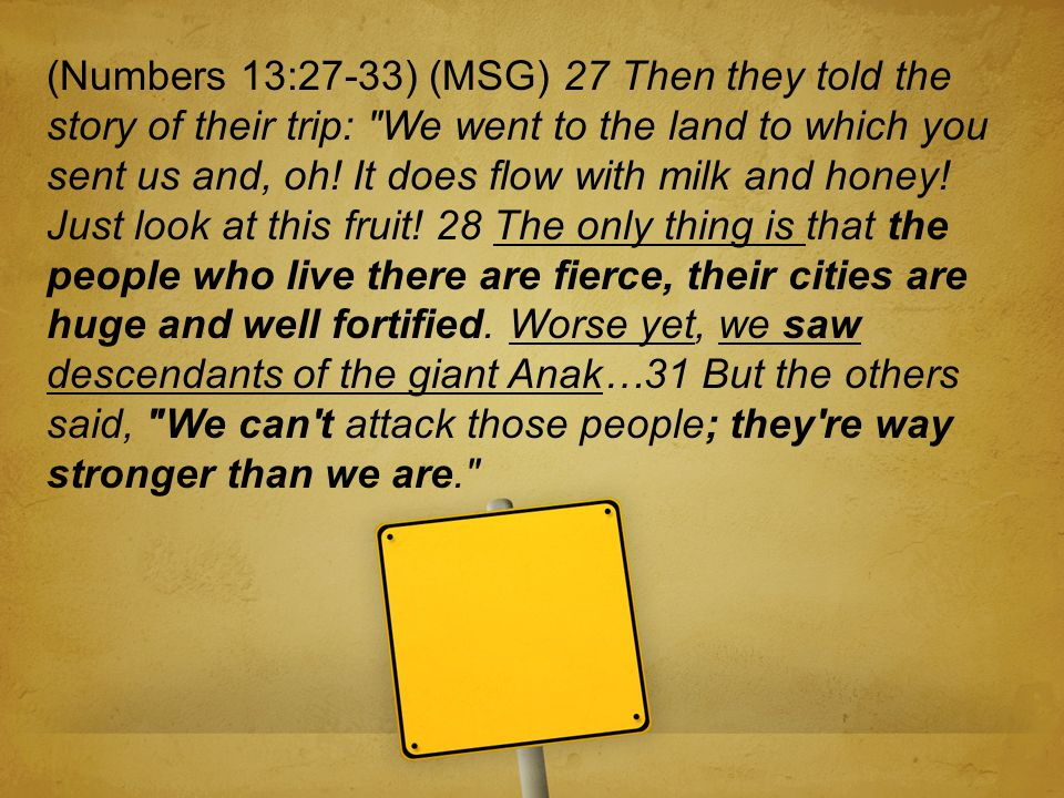 (Numbers 13:27-33) (MSG) 27 Then they told the story of their trip: We went to the land to which you sent us and, oh.