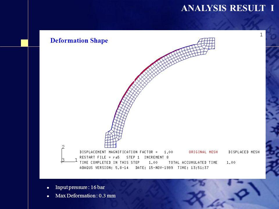 ANALYSIS RESULT I Deformation Shape Before deformation (Red color) After deformation l Input pressure : 16 bar l Max Deformation : 0.3 mm