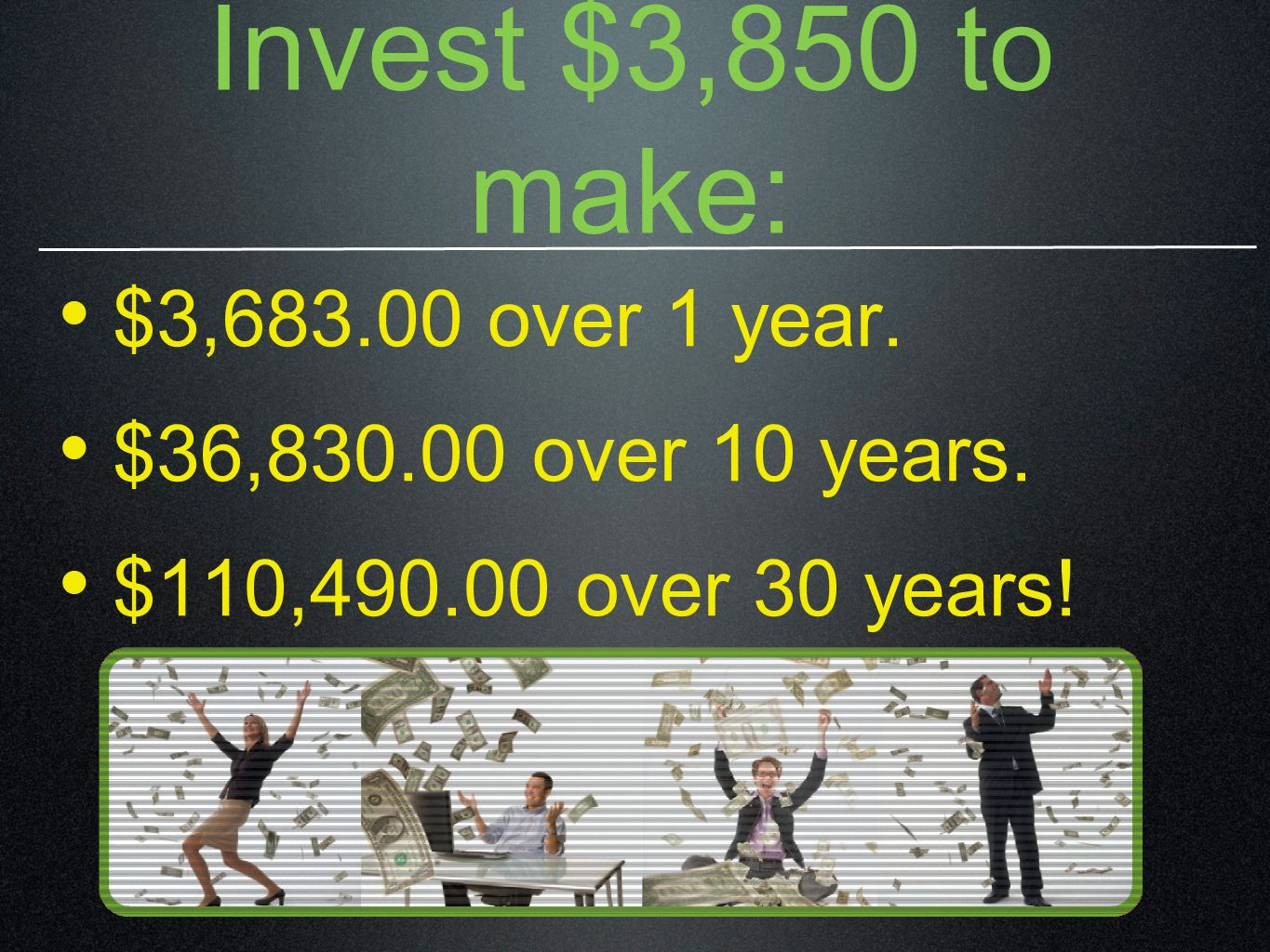 Invest $3,850 to make: $3,683.00 over 1 year. $36,830.00 over 10 years. $110,490.00 over 30 years!