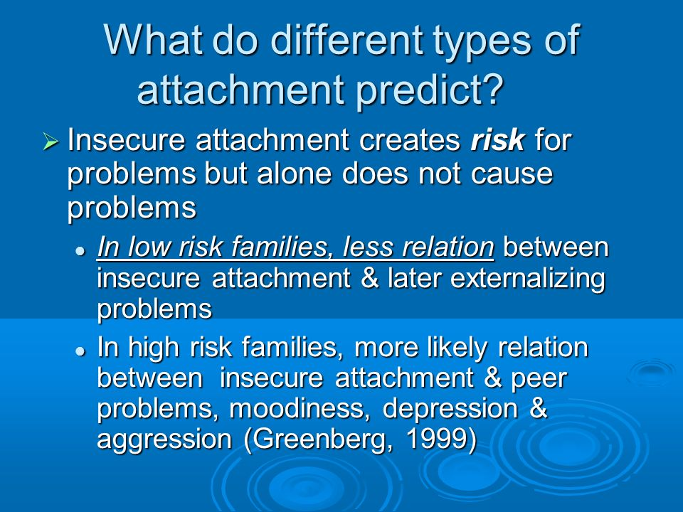 What do different types of attachment predict.