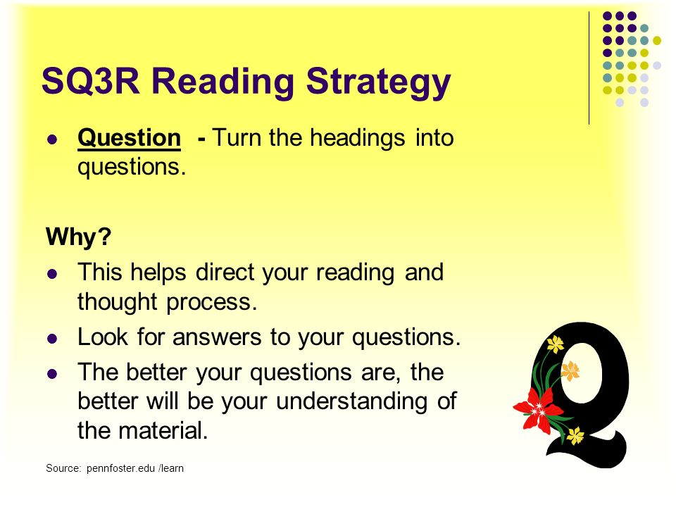 SQ3R Reading Strategy Survey (Scan) – Familiarize yourself with your textbook organization before beginning to read the entire text. Look at the follo
