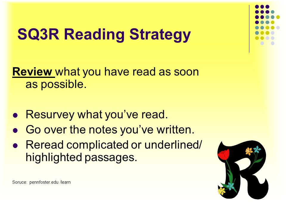 SQ3R Reading Strategy Recite Before going to a new section, stop and repeat, either silently or aloud, the main points of what youve just read. Explai