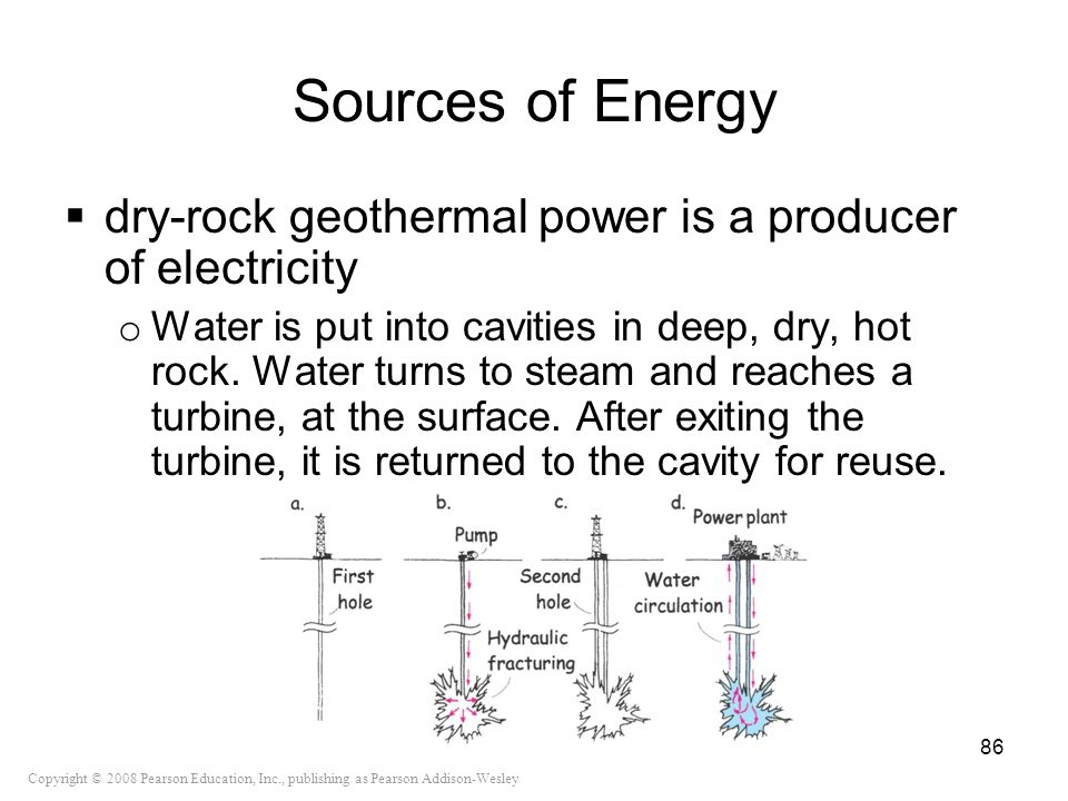 Copyright © 2008 Pearson Education, Inc., publishing as Pearson Addison-Wesley Sources of Energy dry-rock geothermal power is a producer of electricit